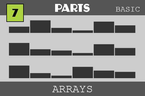 Arrays - under the PARTS category.  Here we several long bar graphs - one above the other.  The bars are at different heights which represent the number in an array.  An array is a list of things - this time we list numbers.  We can also hold strings (words or letters) in an array or any type of object in an array - they are very handy.  The next bar graph shows the first two numbers switched.  The next one shows the first number moved to the last number.  The bar graphs show the changes we are making to the arrays in the code!