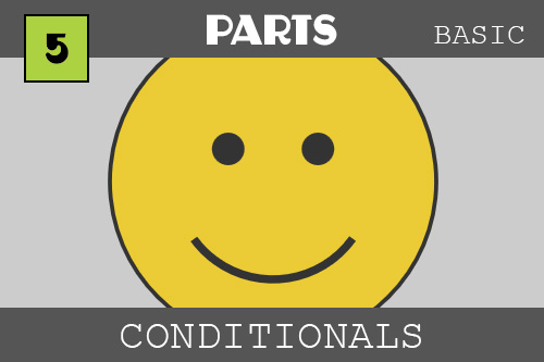 Conditionals - under the PARTS category.  Oooo - it is a big yellow happy face!  We are using conditionals - which are if statements - to either show a happy, sad or thinking face based on odds.  Programming has a random number which can be used along with conditionals to give us odds of something happening.  The odds are one third a chance that a happy face will show, etc.