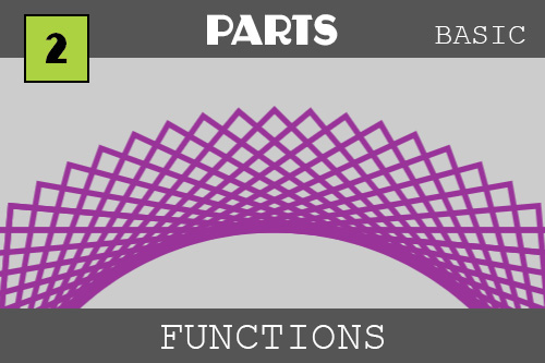 This is the thumbnail for functions - again under the category of PARTS.  It shows a cool purple arc made from overlapping rotated rectangles that makes a pattern like a doily or the middle of a sunflower.  We ran a function over and over again in time each time rotating the rectangle to make this pattern.