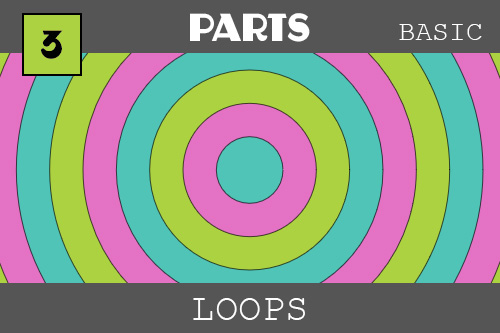 Loops - under the PARTS category.  Wow!  Concentric circles - or circles within circles of some of the ZIM colors (blue, pink and green).  It looks like a target and gives feeling of depth because things get smaller as they are farther away.  They were made with loops which can run many times quickly and are great for making pattens. The loops happen all at once - not over time like we did with the interval function in the last example.