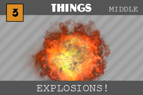 a firey orange and yellow explosion is in the center on our striped background.  The explosion is roundish and is bright in the middle and then gets dark and curly around the edges.  It kind of looks like a cloud, all puffy and soft but also looks scary like smokey, whispy fingers that will get you!  In this tutorial we make simple explosions from a particle emitter that sends little shapes flying from one point.  We also use a Sprite which is a bunch of pictures that we play quickly in sequence in the same place.  This makes an animation that looks real - and that is how we make our eplosion.  We also hear sounds in this one!  Boooom!