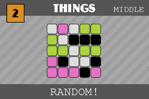 twenty-five little squares with rounded corners are tiled (five by five) on our striped background.  They have the following colors: white, pink, white, green, green then the next row: green, white, black, black, black, etc.  They are random and look like yummy candies.