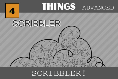 The word Scribbler is at the top left in black with a white outline.  Then there is a thick lined fluffy bumpy cloud with all sorts of thin lined scribbles inside. These are all curly like curly hair or a bunch of wild string.  The picture was made with the Scribbler which is a drawing tool we can make in this tutorial.  It makes a curve that follows the mouse but also keeps curving on its own!